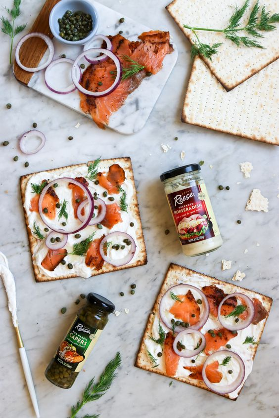 salmon and horseradish matzo